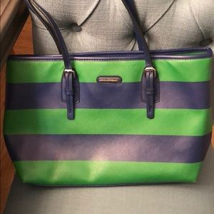 Dana Buchmam Green and Navy Stripe Tote